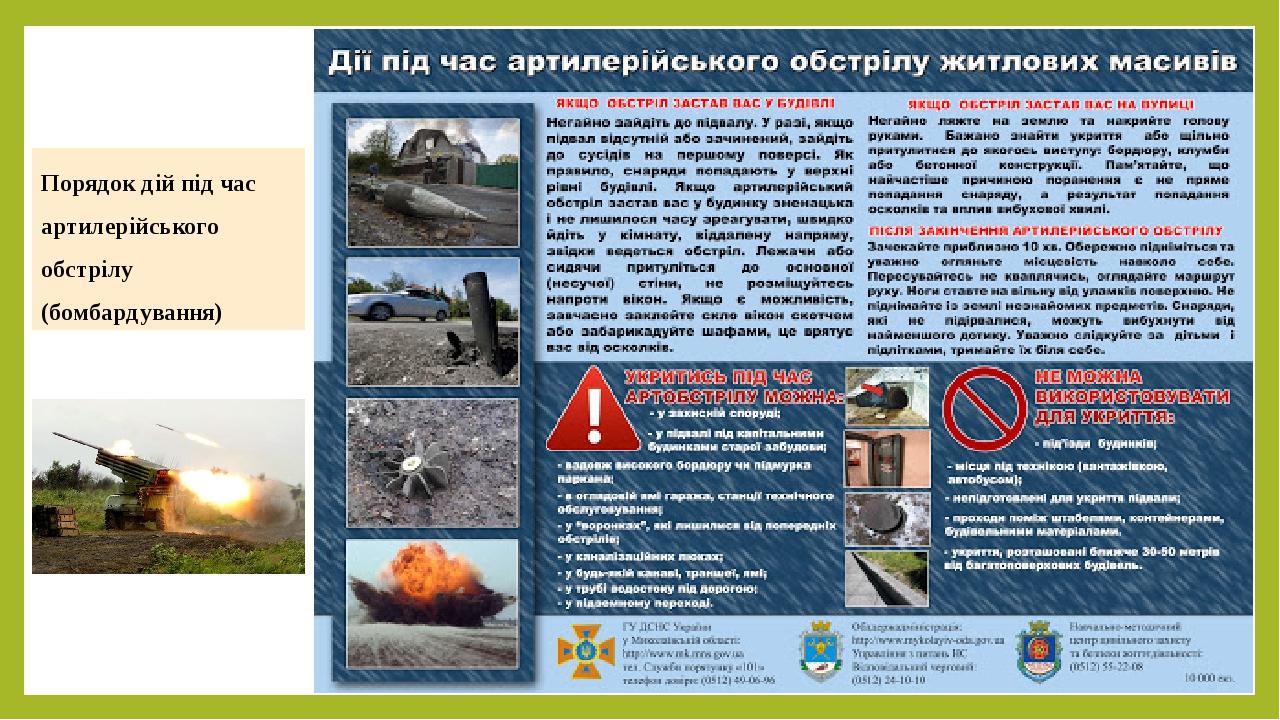 Порядок дій під час артилерійського обстрілу (бомбардування)