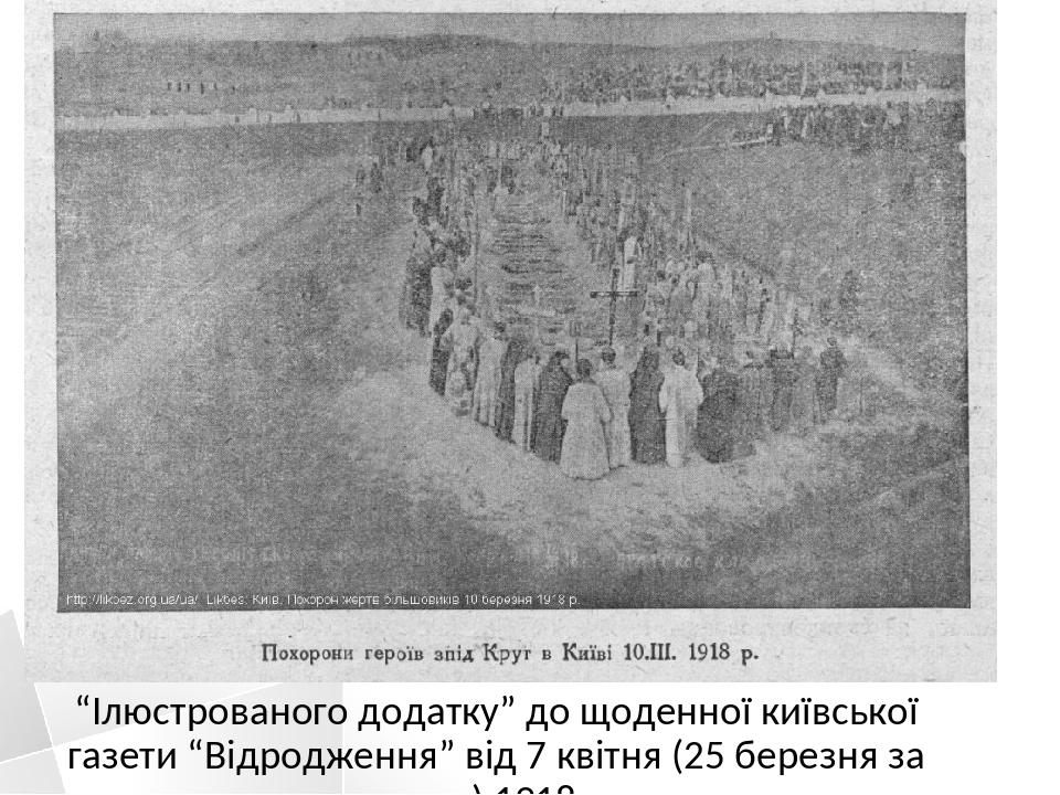"""""""Ілюстрованого додатку"""" до щоденної київської газети """"Відродження"""" від 7 квітня (25 березня за ст. ст.) 1918 р."""