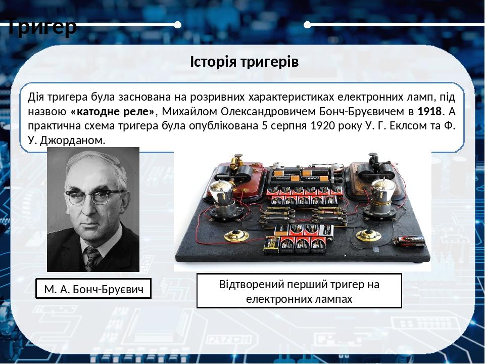 Тригер Історія тригерів Схеми з патенту Еклса та Джордана, один намальований як каскад підсилювачів із позитивним зворотним зв'язком (1), а другий ...