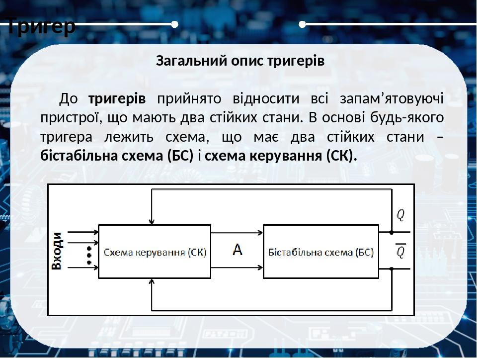Тригер Класифікація тригерів Тригери розрізняються за такими класифікаційними ознаками: За логікою функціонування: RS(а), JK(б), D(г), T(г) та ін.;...
