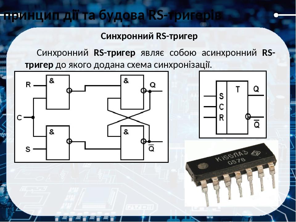 Синхронний RS-тригер в середовищі Electronic Workbench Синхронний RS-тригер принцип дії та будова RS-тригерів
