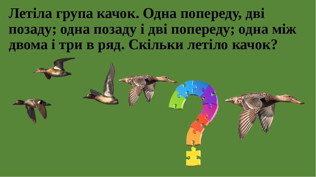 Летіла група качок. Одна попереду, дві позаду; одна позаду і дві попереду; одна між двома і три в ряд. Скільки летіло качок?