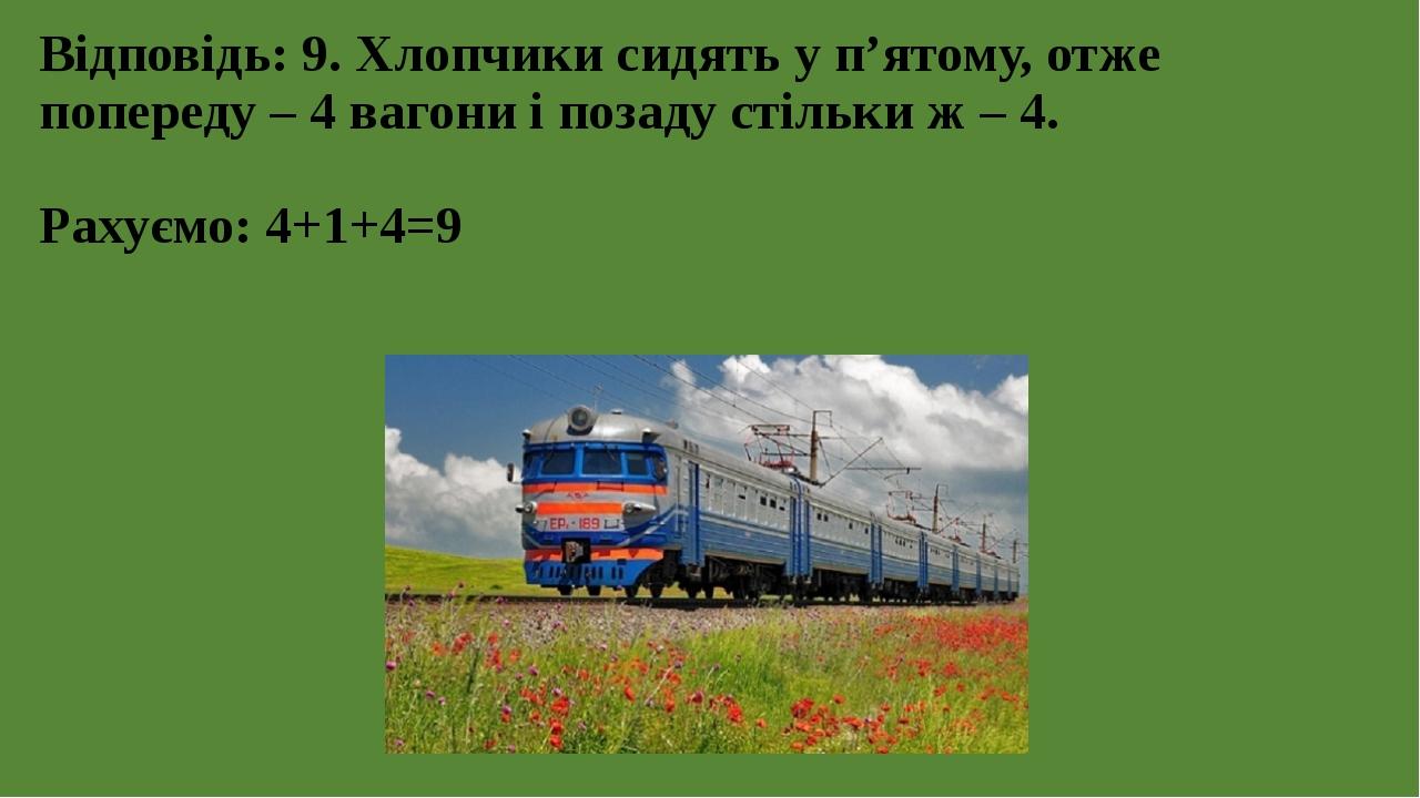 Відповідь: 9. Хлопчики сидять у п'ятому, отже попереду – 4 вагони і позаду стільки ж – 4. Рахуємо: 4+1+4=9