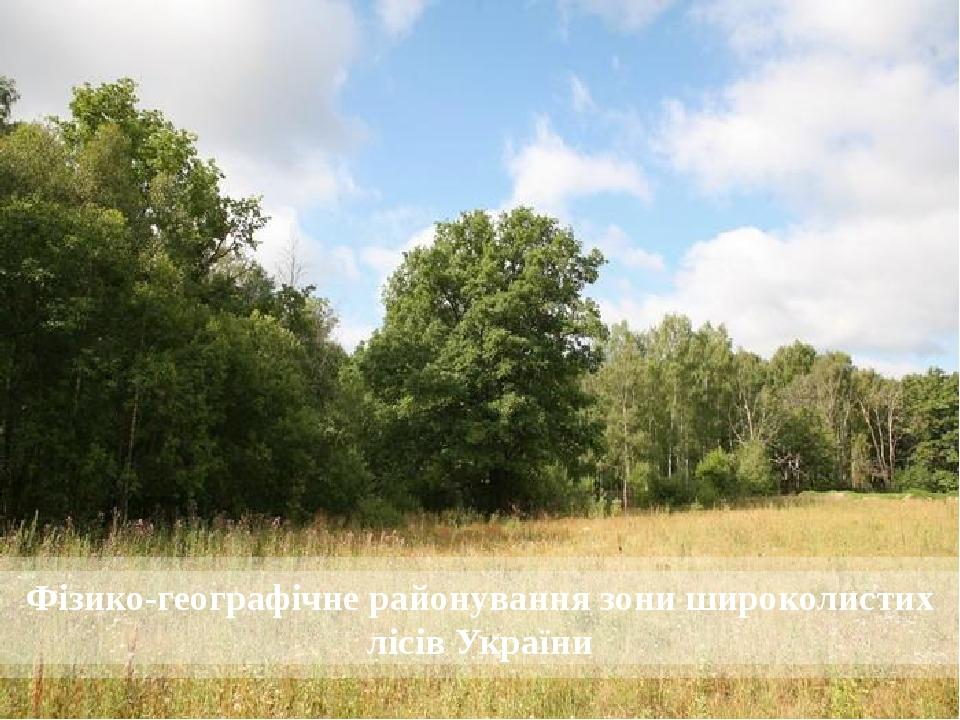 Фізико-географічне районування зони широколистих лісів України