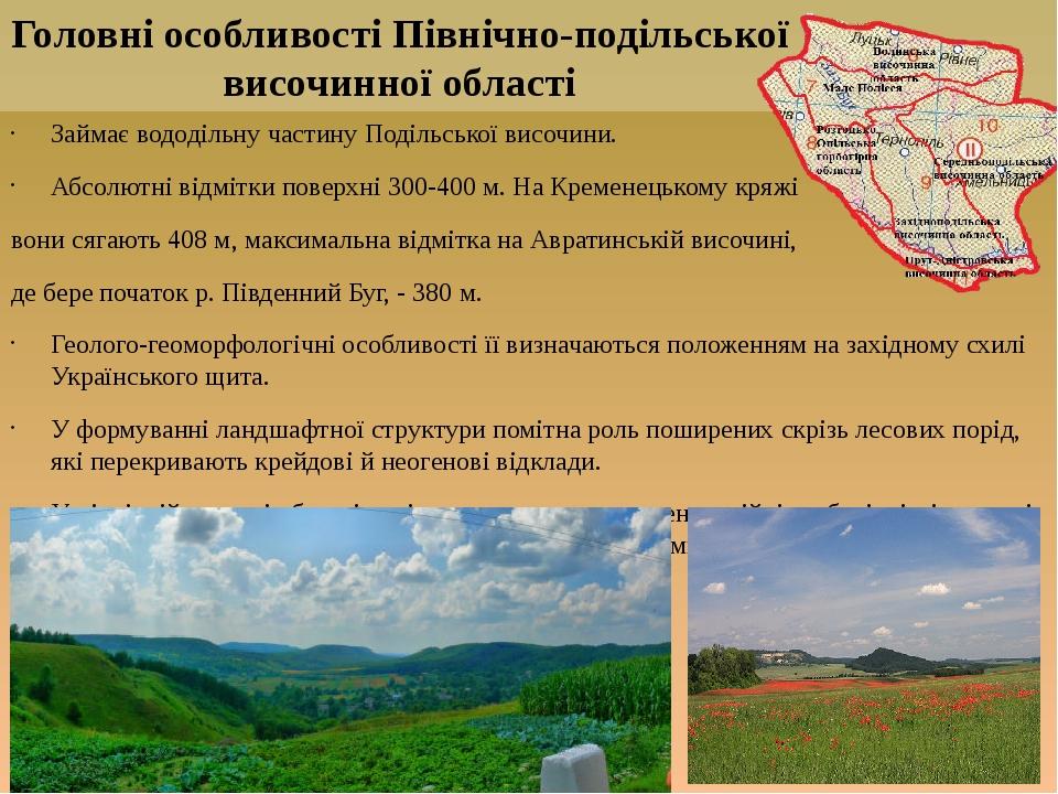 Займає вододільну частину Подільської височини. Абсолютні відмітки поверхні 300-400 м. На Кременецькому кряжі вони сягають 408 м, максимальна відмі...
