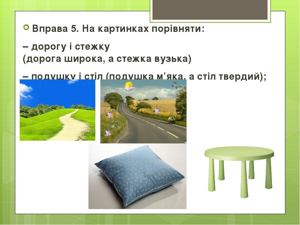 Вправа 5. На картинках порівняти: – дорогу і стежку (дорога широка, а стежка вузька) – подушку і стіл (подушка м'яка, а стіл твердий);