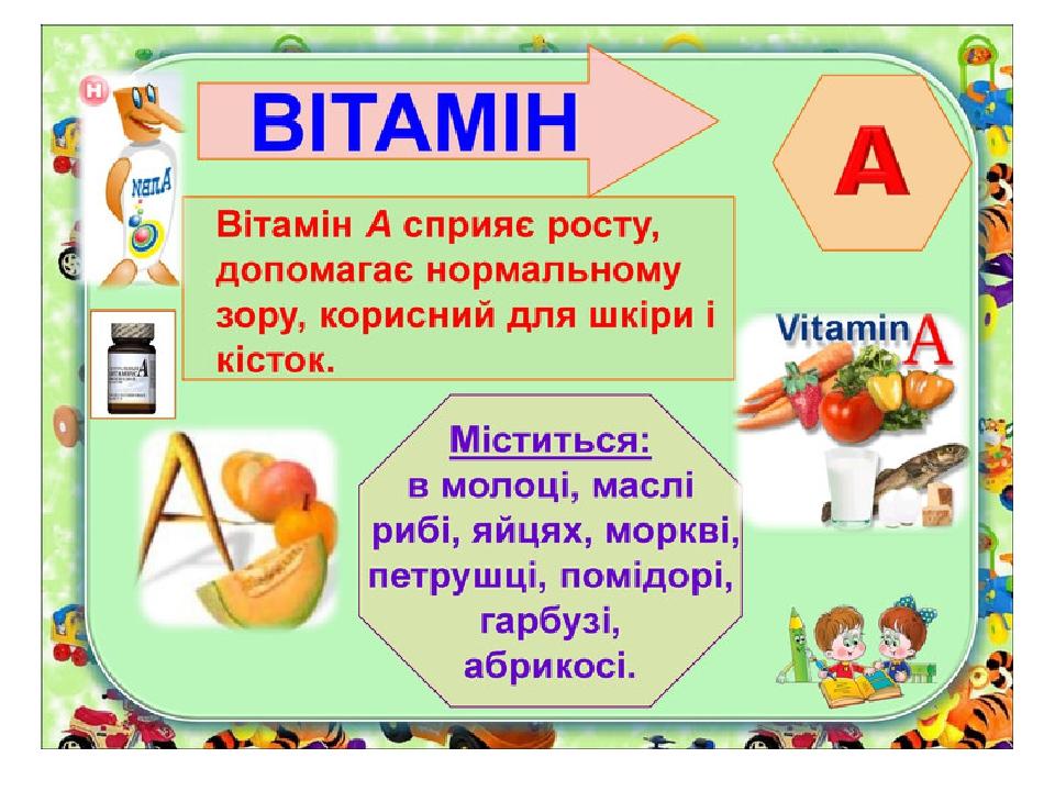 """Презентація на тему """" Вітаміни для дітей"""""""