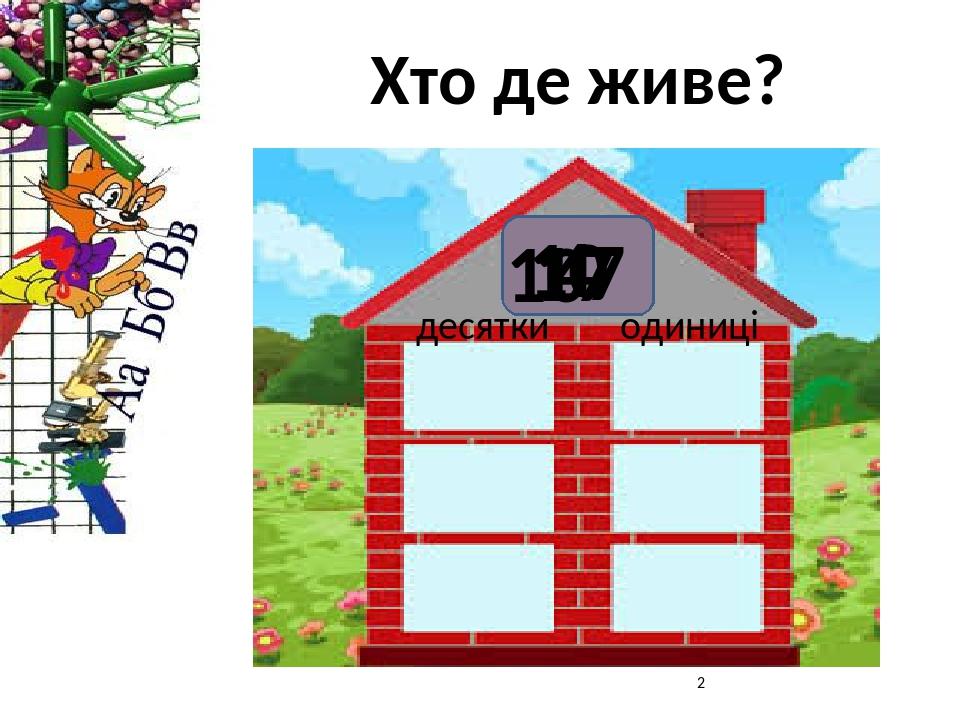 Хто де живе? десятки одиниці 17 10 7 10 4