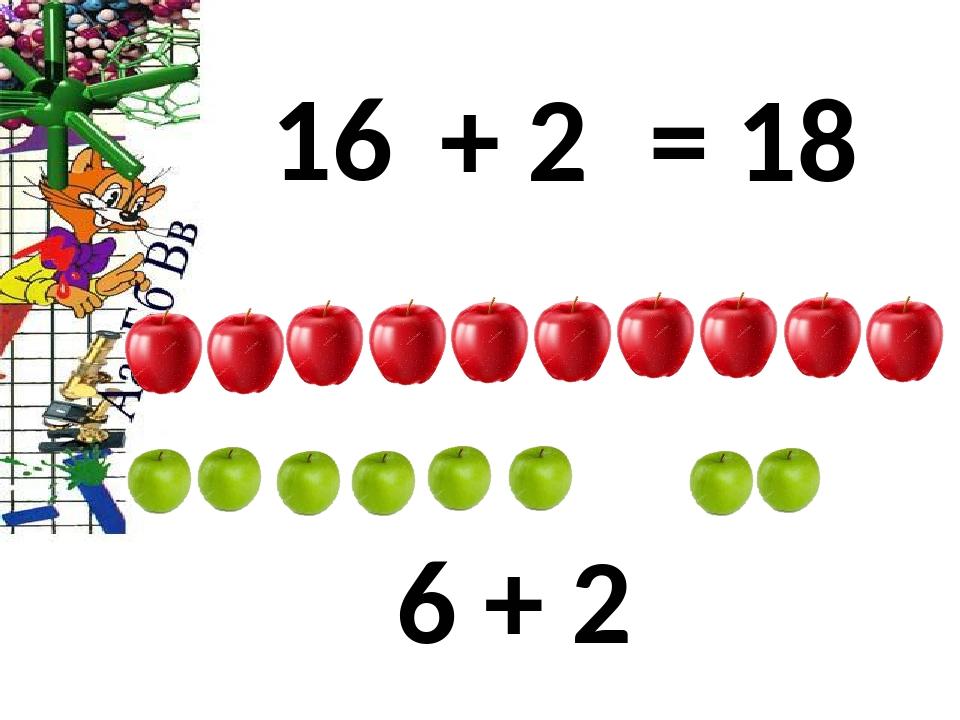 16 + 2 = 18 6 + 2