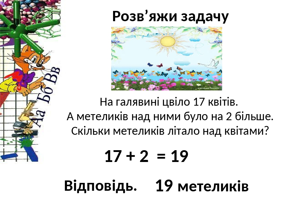 Розв'яжи задачу На галявині цвіло 17 квітів. А метеликів над ними було на 2 більше. Скільки метеликів літало над квітами? 17 + 2 = 19 19 метеликів ...