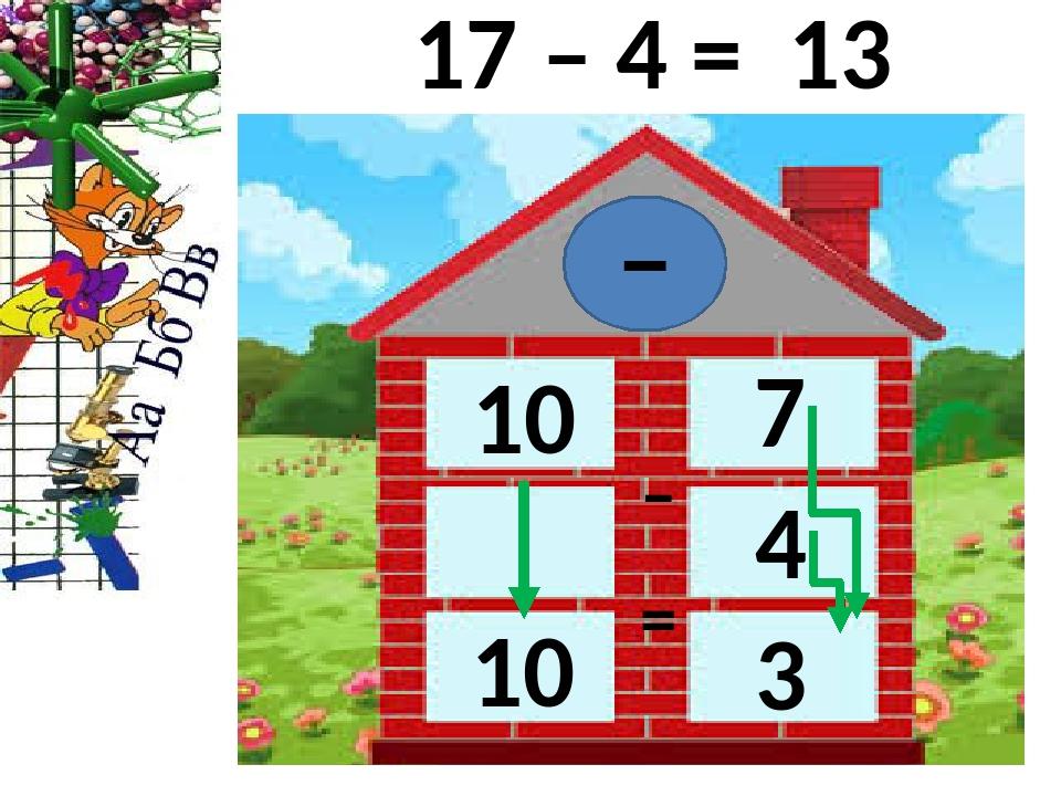 – – = 17 – 4 = 7 10 4 10 3 13
