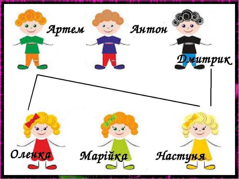 Оленка Марійка Настуня Артем Антон Дмитрик