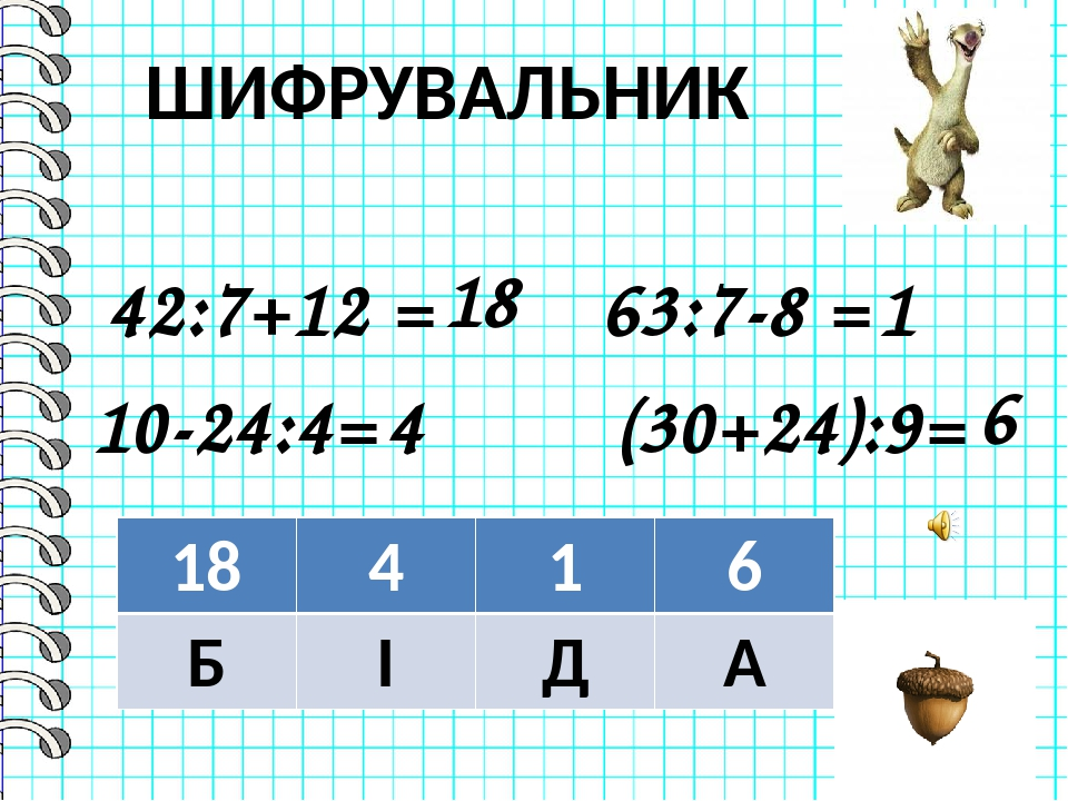 63:7-8 = 42:7+12 = 10-24:4= (30+24):9= 18 1 4 6 ШИФРУВАЛЬНИК 18 4 1 6 Б І Д А