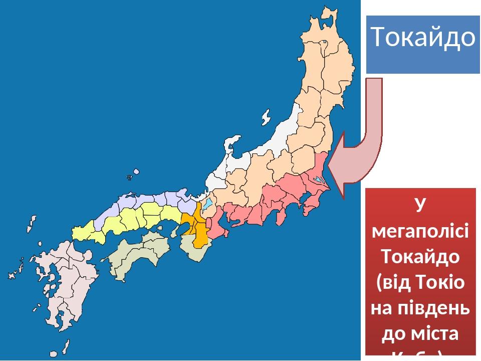 Токайдо У мегаполісі Токайдо (від Токіо на південь до міста Кобе), проживає майже половина населення Японії (70 млн осіб).