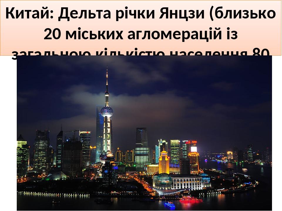 Китай: Дельта річки Янцзи (близько 20 міських агломерацій із загальною кількістю населення 80 млн осіб)