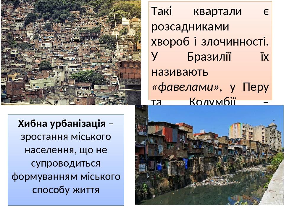 Хибна урбанізація – зростання міського населення, що не супроводиться формуванням міського способу життя Такі квартали є розсадниками хвороб і злоч...
