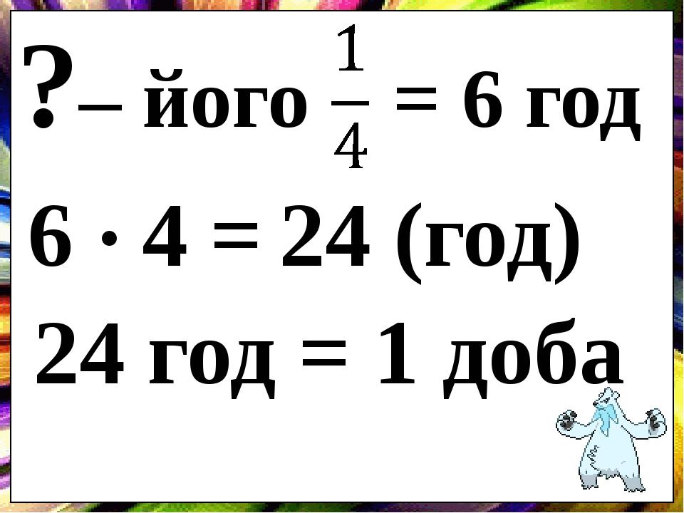 ?– його = 6 год 6 4 = 24 (год) 24 год = 1 доба .
