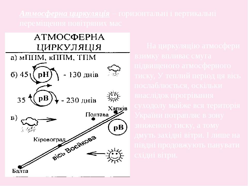 Атмосферна циркуляція – горизонтальні і вертикальні переміщення повітряних мас На циркуляцію атмосфери взимку впливає смуга підвищеного атмосферног...