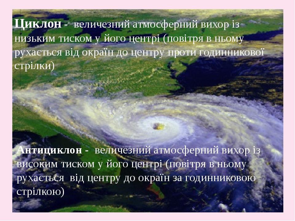 Циклон - величезний атмосферний вихор із низьким тиском у його центрі (повітря в ньому рухається від окраїн до центру проти годинникової стрілки) А...