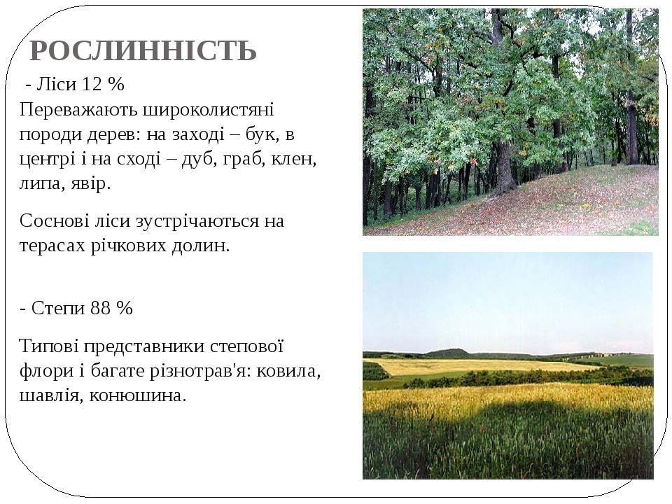 РОСЛИННІСТЬ - Ліси 12 % Переважають широколистяні породи дерев: на заході – бук, в центрі і на сході – дуб, граб, клен, липа, явір. Соснові ліси зу...