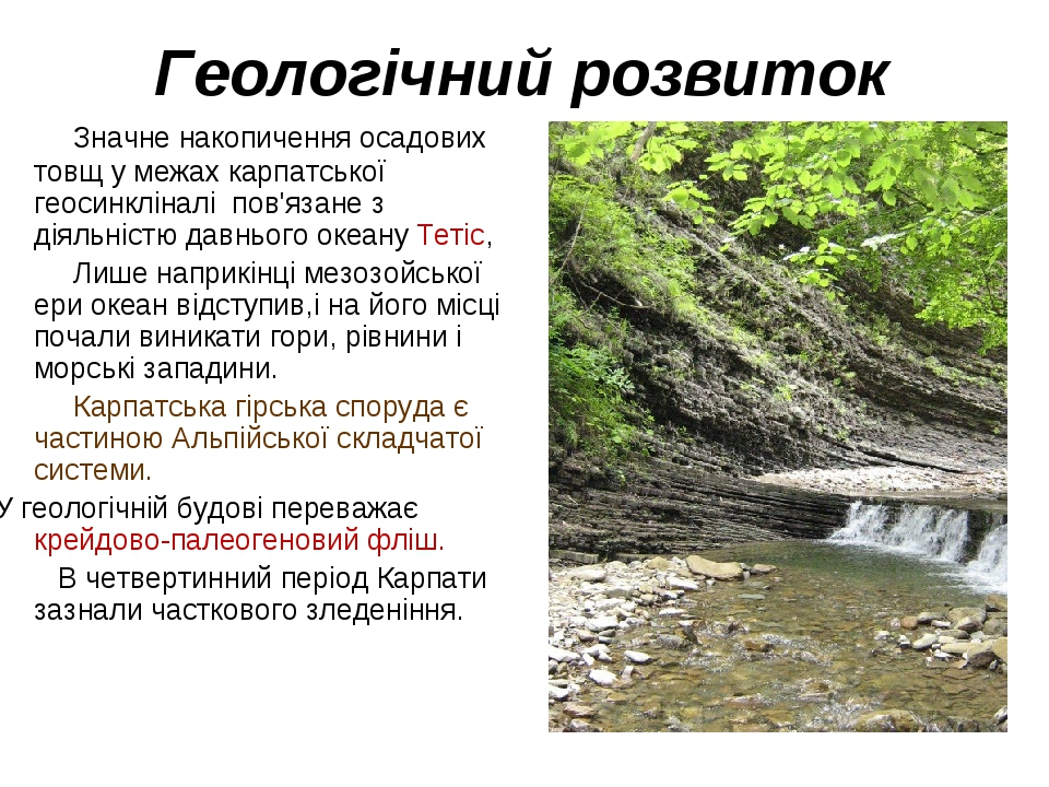 Геологічний розвиток Значне накопичення осадових товщ у межах карпатської геосинкліналі пов'язане з діяльністю давнього океану Тетіс, Лише наприкін...
