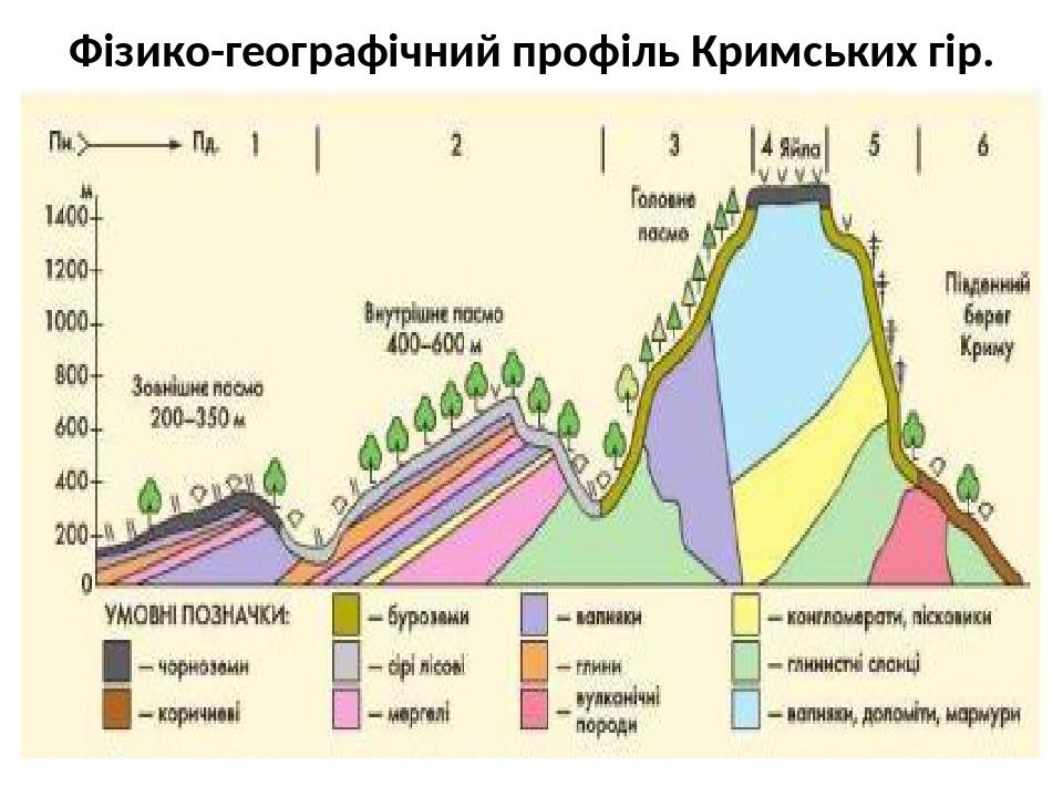 Фізико-географічний профіль Кримських гір.