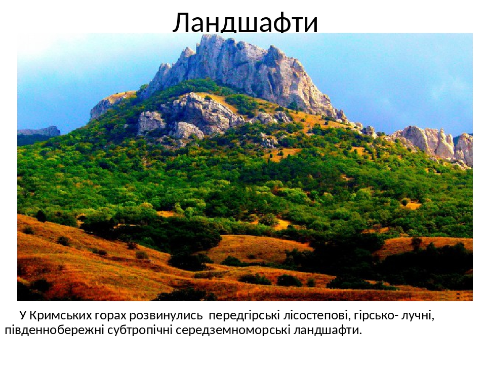 Ландшафти У Кримських горах розвинулись передгірські лісостепові, гірсько- лучні, південнобережні субтропічні середземноморські ландшафти.