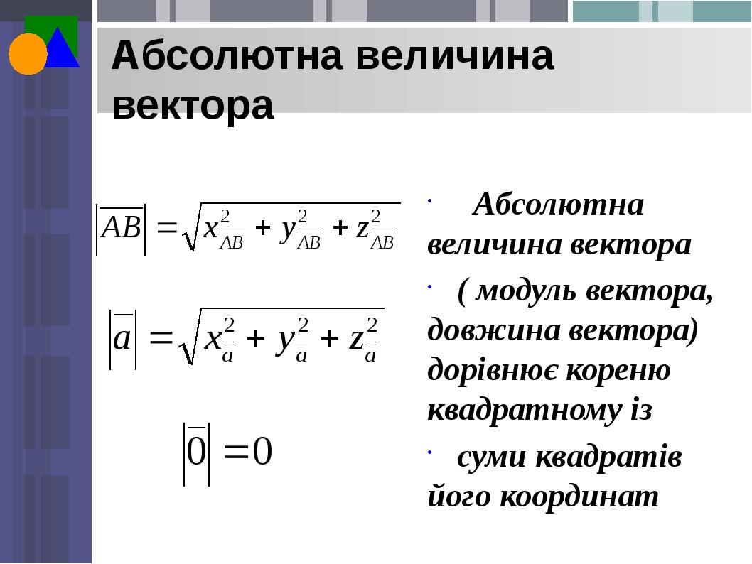 Абсолютна величина вектора Абсолютна величина вектора ( модуль вектора, довжина вектора) дорівнює кореню квадратному із суми квадратів його координат