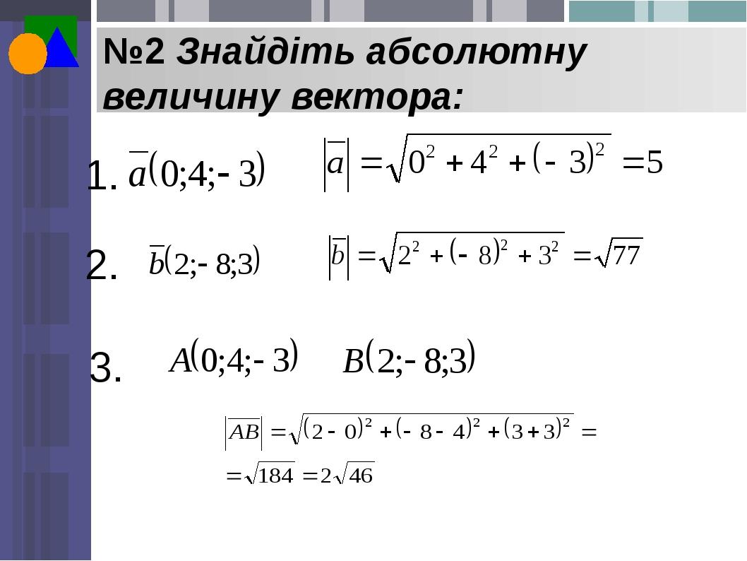 №2 Знайдіть абсолютну величину вектора: 1. 2. 3.