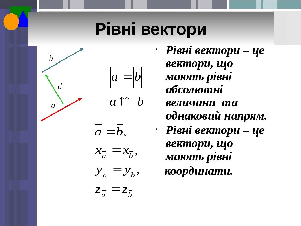 Рівні вектори Рівні вектори – це вектори, що мають рівні абсолютні величини та однаковий напрям. Рівні вектори – це вектори, що мають рівні координ...