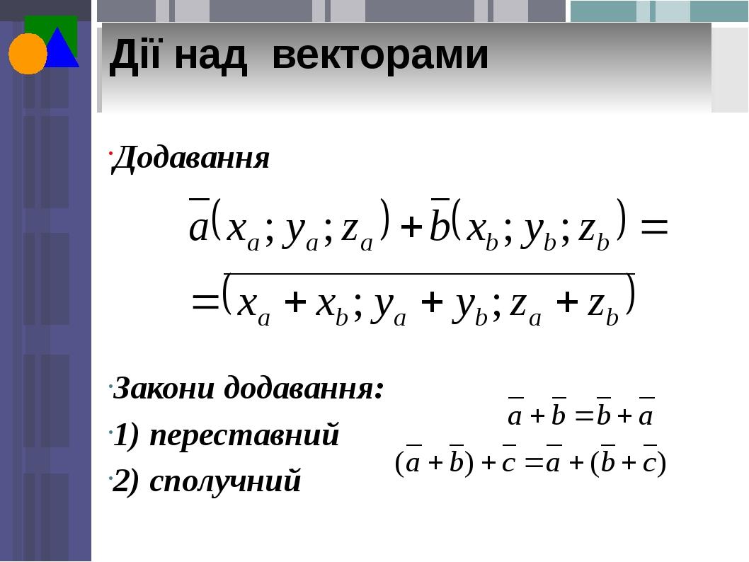 Дії над векторами Додавання Закони додавання: 1) переставний 2) сполучний