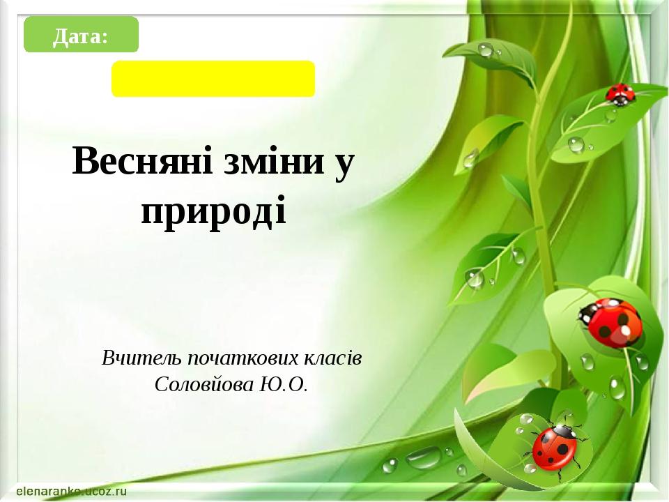 Весняні зміни у природі Вчитель початкових класів Соловйова Ю.О. Дата: