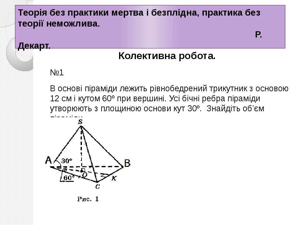 Теорія без практики мертва і безплідна, практика без теорії неможлива. Р. Декарт. Колективна робота. №1 В основі піраміди лежить рівнобедрений трик...