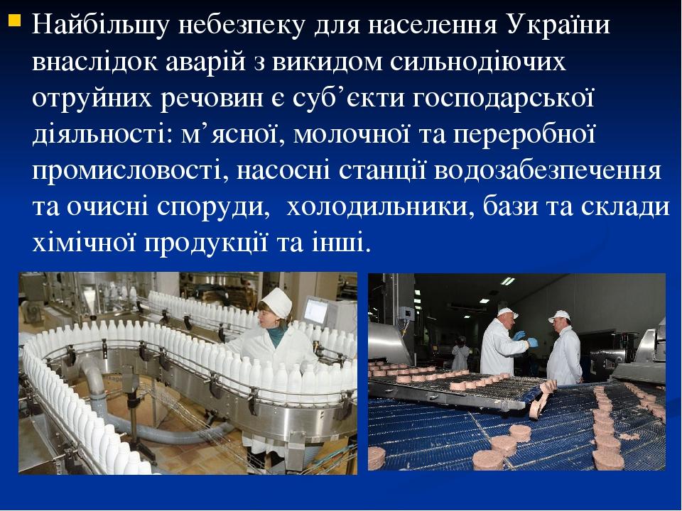 Найбільшу небезпеку для населення України внаслідок аварій з викидом сильнодіючих отруйних речовин є суб'єкти господарської діяльності: м'ясної, мо...