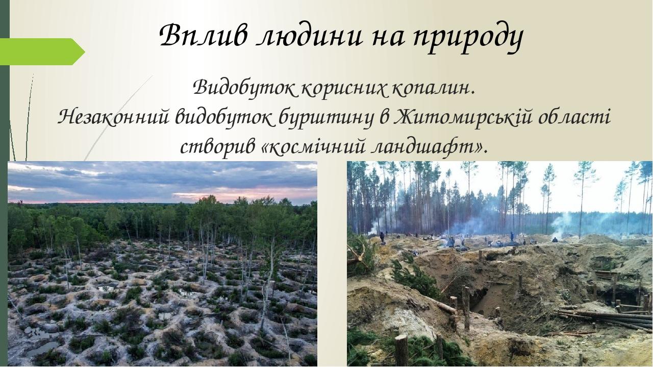 Видобуток корисних копалин. Незаконний видобуток бурштину в Житомирській області створив «космічний ландшафт». Вплив людини на природу