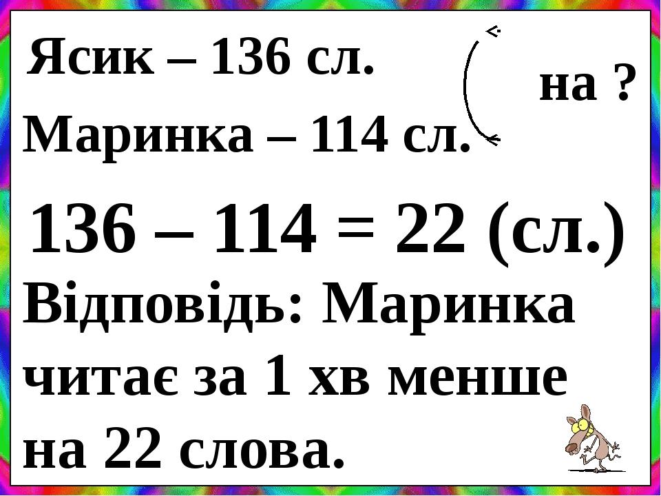 Ясик – 136 сл. Маринка – 114 сл. на ? 136 – 114 = 22 (сл.) Відповідь: Маринка читає за 1 хв менше на 22 слова.
