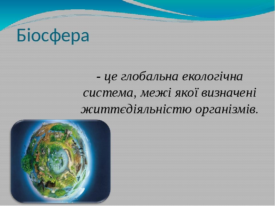 Біосфера - це глобальна екологічна система, межі якої визначені життєдіяльністю організмів.