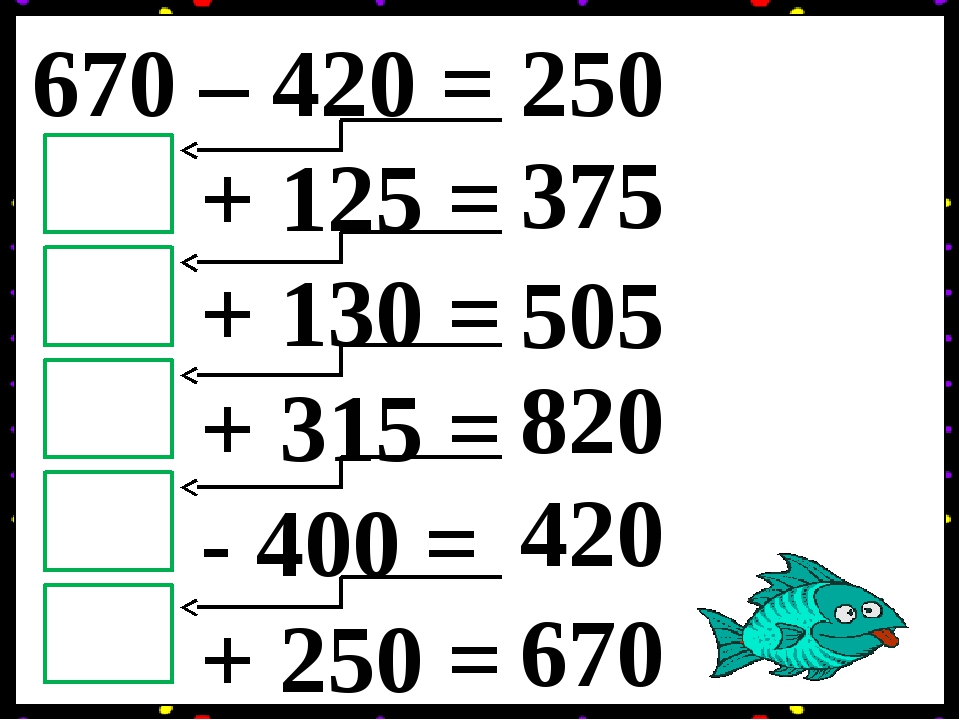 670 – 420 = + 125 = + 130 = + 315 = - 400 = + 250 = 250 375 505 820 420 670