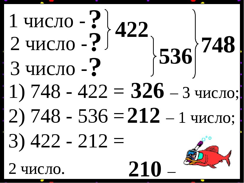 1 число - 2 число - 3 число - ? ? ? 748 422 536 1) 748 - 422 = 326 – 3 число; 2) 748 - 536 = 212 – 1 число; 3) 422 - 212 = 210 – 2 число.