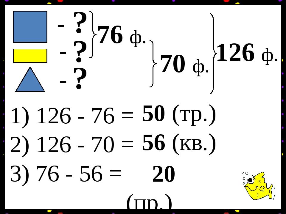 - - - ? ? ? 126 ф. 76 ф. 70 ф. 1) 126 - 76 = 50 (тр.) 2) 126 - 70 = 56 (кв.) 3) 76 - 56 = 20 (пр.)