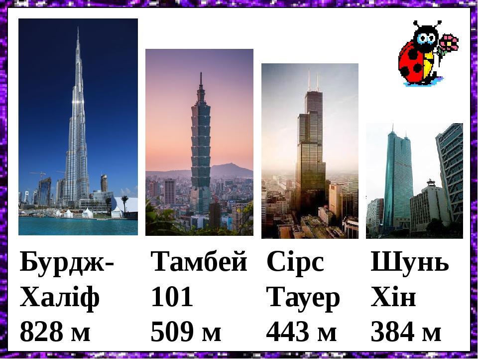 Бурдж- Халіф 828 м Тамбей 101 509 м Сірс Тауер 443 м Шунь Хін 384 м