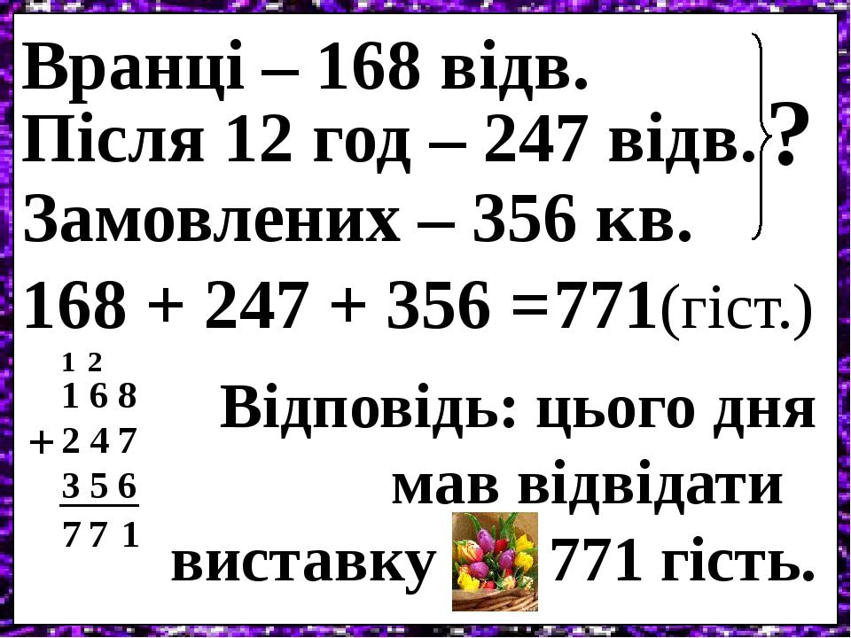Вранці – 168 відв. Після 12 год – 247 відв. Замовлених – 356 кв. ? 168 + 247 + 356 = 1 6 8 2 4 7 3 5 6 + 1 2 7 1 7 771(гіст.) Відповідь: цього дня ...